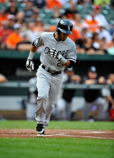 Sep 8, 2013; Baltimore, MD, USA; Chicago White Sox center fielder Leury Garcia (28) walks in the first inning against the Baltimore Orioles at Oriole Park at Camden Yards. The White Sox defeated the Orioles 4-2. Mandatory Credit: Joy R. Absalon-USA TODAY Sports