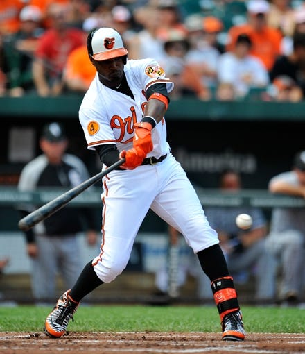 Sep 8, 2013; Baltimore, MD, USA; Baltimore Orioles center fielder Adam Jones (10) bats in the first inning against the Chicago White Sox at Oriole Park at Camden Yards. The White Sox defeated the Orioles 4-2. Mandatory Credit: Joy R. Absalon-USA TODAY Sports