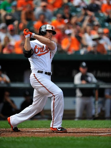 Sep 8, 2013; Baltimore, MD, USA; Baltimore Orioles first baseman Chris Davis (19) bats in the first inning against the Chicago White Sox at Oriole Park at Camden Yards. The White Sox defeated the Orioles 4-2. Mandatory Credit: Joy R. Absalon-USA TODAY Sports