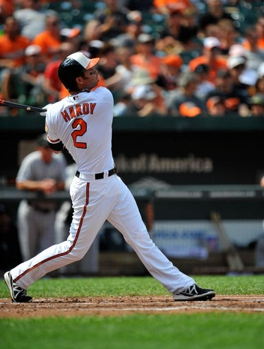 Sep 8, 2013; Baltimore, MD, USA; Baltimore Orioles shortstop J.J. Hardy (2) bats in the second inning against the Chicago White Sox at Oriole Park at Camden Yards. The White Sox defeated the Orioles 4-2. Mandatory Credit: Joy R. Absalon-USA TODAY Sports
