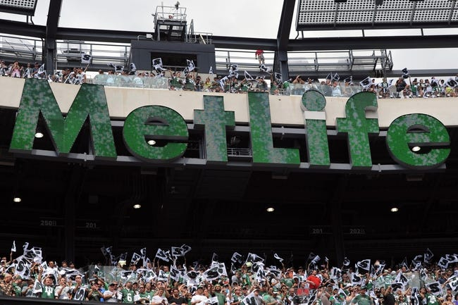 Sep 8, 2013; East Rutherford, NJ, USA; New York Jets fans cheer before the first half against the Tampa Bay Buccaneers at MetLife Stadium. The Jets won 18-17. Mandatory Credit: Joe Camporeale-USA TODAY Sports
