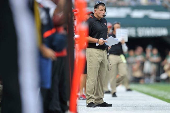 Sep 8, 2013; East Rutherford, NJ, USA; Tampa Bay Buccaneers head coach Greg Schiano looks on against the New York Jets during the first half at MetLife Stadium. The Jets won 18-17. Mandatory Credit: Joe Camporeale-USA TODAY Sports
