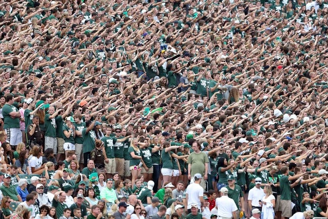 Sep 7, 2013; East Lansing, MI, USA; Michigan State Spartans student section during the first quarter of a game against the South Florida Bulls at Spartan Stadium. Mandatory Credit: Mike Carter-USA TODAY Sports