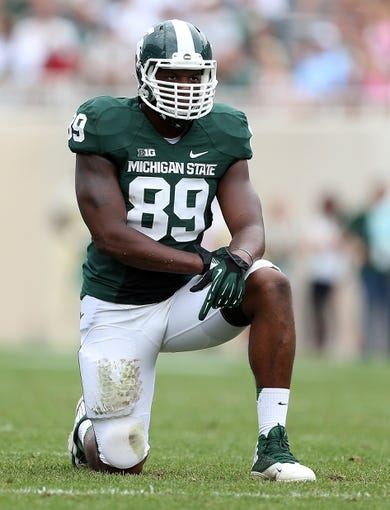 Sep 7, 2013; East Lansing, MI, USA; Michigan State Spartans defensive end Shilique Calhoun (89) looks on between plays during the 2nd half in a game between the Michigan State Spartans and the South Florida Bulls at Spartan Stadium. MSU won 21-6. Mandatory Credit: Mike Carter-USA TODAY Sports
