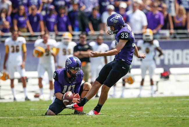 Sep 7, 2013; Fort Worth, TX, USA; TCU Horned Frogs kicker Jaden Oberkrom (33) makes a field goal during the game against the Southeastern Louisiana Lions at Amon G. Carter Stadium. Mandatory Credit: Kevin Jairaj-USA TODAY Sports