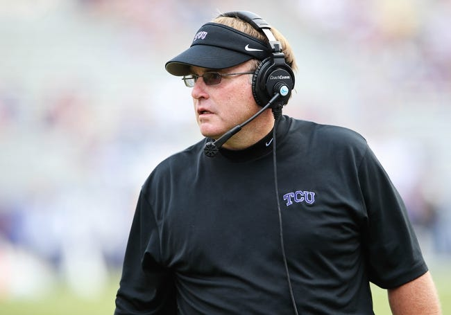 Sep 7, 2013; Fort Worth, TX, USA; TCU Horned Frogs head coach Gary Patterson reacts during the game against the Southeastern Louisiana Lions at Amon G. Carter Stadium. Mandatory Credit: Kevin Jairaj-USA TODAY Sports