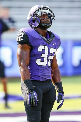 Sep 7, 2013; Fort Worth, TX, USA; TCU Horned Frogs running back Waymon James (32) before the game against the Southeastern Louisiana Lions at Amon G. Carter Stadium. Mandatory Credit: Kevin Jairaj-USA TODAY Sports