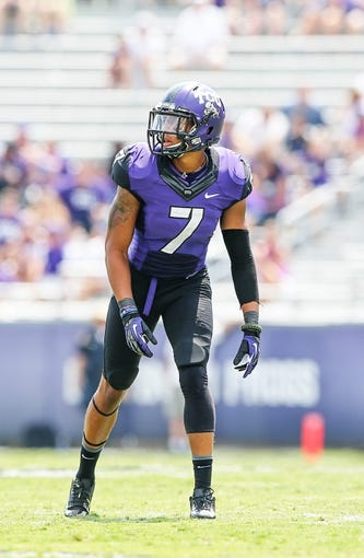 Sep 7, 2013; Fort Worth, TX, USA; TCU Horned Frogs wide receiver Kolby Listenbee (7) lines up during the game against the Southeastern Louisiana Lions at Amon G. Carter Stadium. Mandatory Credit: Kevin Jairaj-USA TODAY Sports