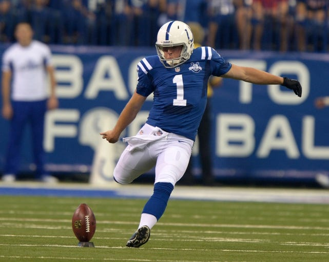 Sep 8, 2013; Indianapolis, IN, USA; Indianapolis Colts kicker Adam Vinatieri (1) kicks the ball on a kickoff against the Oakland Raiders at Lucas Oil Stadium. The Colts defeated the Raiders 21-17. Mandatory Credit: Kirby Lee-USA TODAY Sports