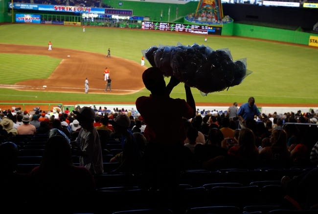 Sep 8, 2013; Miami, FL, USA;  A vendor carries cotton candy through Marlins Park during a game between the Washington Nationals and Miami Marlins.  Mandatory Credit: Robert Mayer-USA TODAY Sports