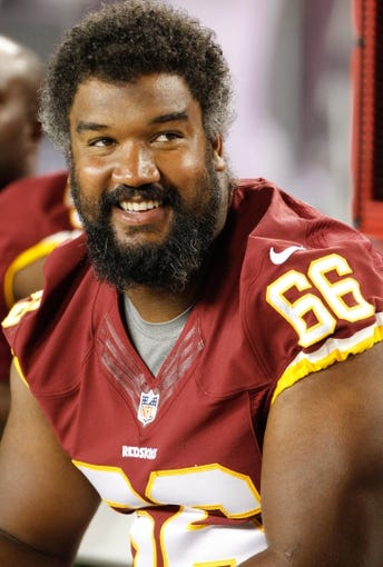 Aug 29, 2013; Tampa, FL, USA; Washington Redskins guard Chris Chester (66) during the second half against the Tampa Bay Buccaneers at Raymond James Stadium. Washington Redskins defeated the Tampa Bay Buccaneers 30-12. Mandatory Credit: Kim Klement-USA TODAY Sports