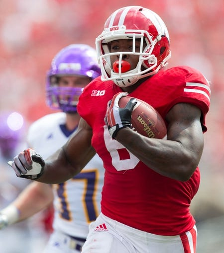 Sep 7, 2013; Madison, WI, USA; Wisconsin Badgers running back Corey Clement (6) during the game against the Tennessee Tech Golden Eagles at Camp Randall Stadium.  Wisconsin won 48-0.  Mandatory Credit: Jeff Hanisch-USA TODAY Sports
