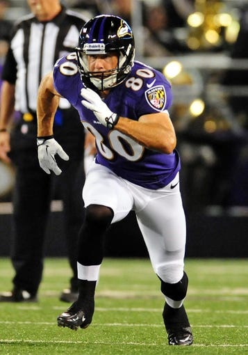 Aug 15, 2013; Baltimore, MD, USA; Baltimore Ravens wide receiver Brandon Stokley (80) runs a route during the game against the Atlanta Falcons at M&T Bank Stadium. Mandatory Credit: Evan Habeeb-USA TODAY Sports