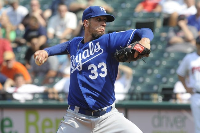 Sep 11, 2013; Cleveland, OH, USA; Kansas City Royals pitcher James Shields (33) pitches against the Cleveland Indians during the seventh inning at Progressive Field. Mandatory Credit: Ken Blaze-USA TODAY Sports