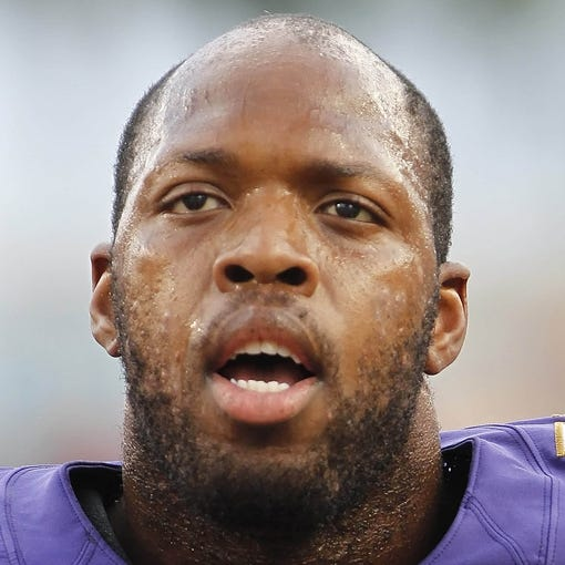 Aug 8, 2013; Tampa, FL, USA; Baltimore Ravens outside linebacker Terrell Suggs (55) works out prior to the game against the Tampa Bay Buccaneers at Raymond James Stadium. Mandatory Credit: Kim Klement-USA TODAY Sports
