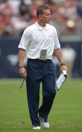Aug 25, 2013; Houston, TX, USA; Houston Texans assistant special teams coach Bob Ligashesky during the game against the New Orleans Saints at Reliant Stadium. Mandatory Credit: Kirby Lee-USA TODAY Sports