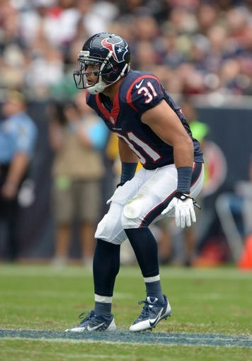 Aug 25, 2013; Houston, TX, USA; Houston Texans cornerback Shiloh Keo (31) during the game against the New Orleans Saints at Reliant Stadium. Mandatory Credit: Kirby Lee-USA TODAY Sports
