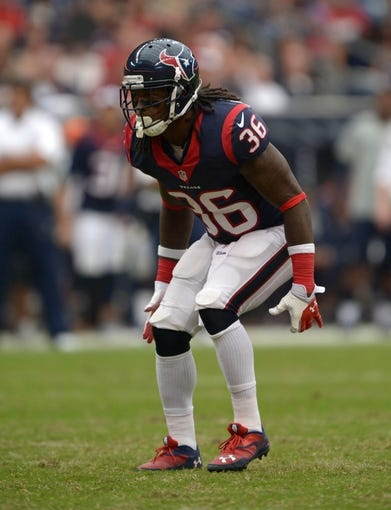 Aug 25, 2013; Houston, TX, USA; Houston Texans safety D.J. Swearinger (36) against the New Orleans Saints at Reliant Stadium. Mandatory Credit: Kirby Lee-USA TODAY Sports