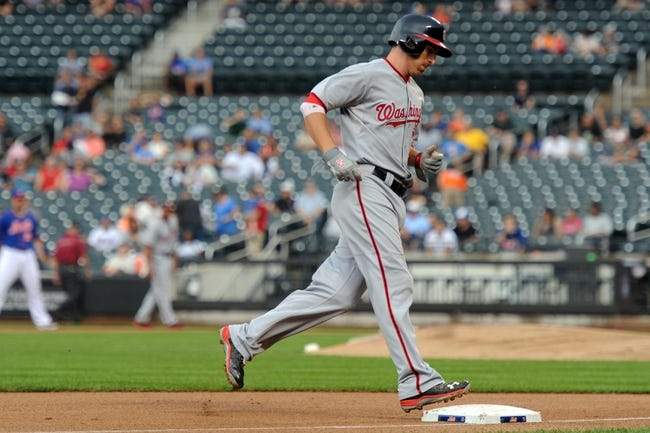 Sep 12, 2013; New York, NY, USA; Washington Nationals first baseman Adam LaRoche (25) rounds third and heads home after hitting a home run against the New York Mets during the second inning at Citi Field. Mandatory Credit: Joe Camporeale-USA TODAY Sports