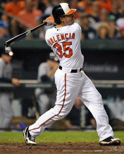 Sep 12, 2013; Baltimore, MD, USA; Baltimore Orioles designated hitter Danny Valencia (35) hits a three-run home run to tie the game in the eighth inning against the New York Yankees at Oriole Park at Camden Yards. The Yankees defeated the Orioles 6-5. Mandatory Credit: Joy R. Absalon-USA TODAY Sports
