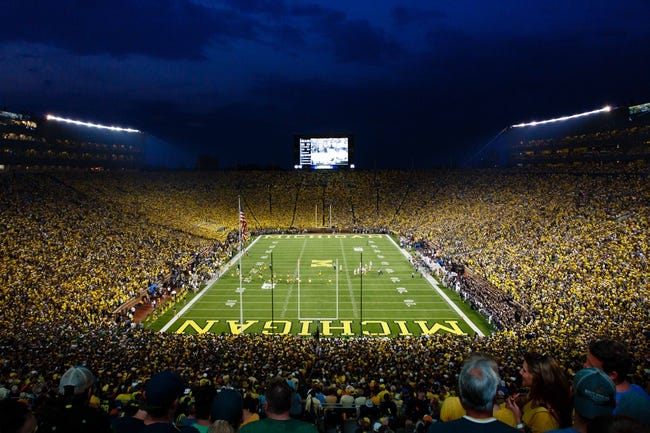 Sep 7, 2013; Ann Arbor, MI, USA; General view during the game between the Michigan Wolverines and the Notre Dame Fighting Irish at Michigan Stadium. Mandatory Credit: Sage Osentoski-USA TODAY Sports