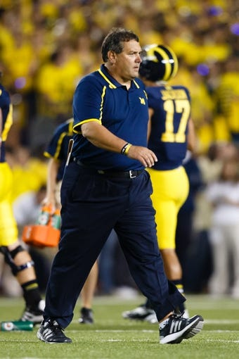 Sep 7, 2013; Ann Arbor, MI, USA; Michigan Wolverines head coach Brady Hoke during the game against the Notre Dame Fighting Irish at Michigan Stadium. Mandatory Credit: Rick Osentoski-USA TODAY Sports