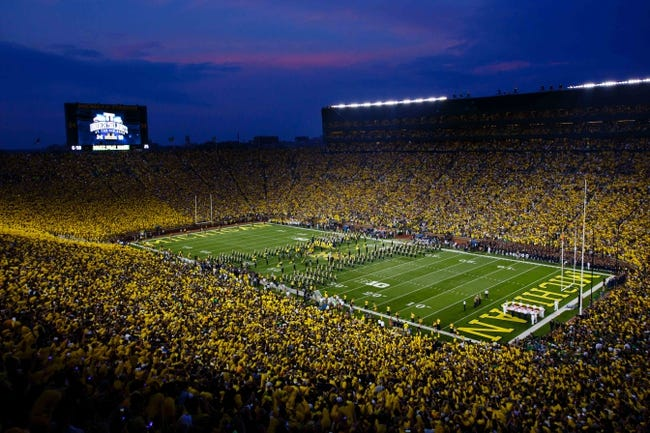 Sep 7, 2013; Ann Arbor, MI, USA; General view of the Michigan Wolverines marching band of  before the game against the Notre Dame Fighting Irish at Michigan Stadium. Mandatory Credit: Sage Osentoski-USA TODAY Sports