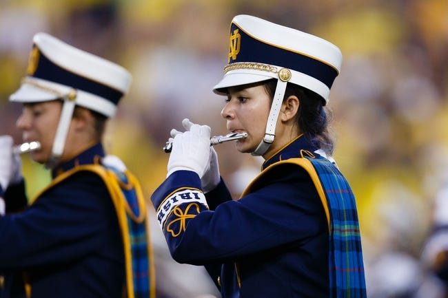 Sep 7, 2013; Ann Arbor, MI, USA; Member of the Notre Dame marching band before the game against the Michigan Wolverines at Michigan Stadium. Mandatory Credit: Rick Osentoski-USA TODAY Sports