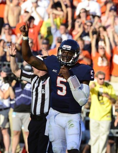 Sep 7, 2013; Charlottesville, VA, USA; Virginia Cavaliers quarterback David Watford (5) reacts at Scott Stadium. Mandatory Credit: Bob Donnan-USA TODAY Sports