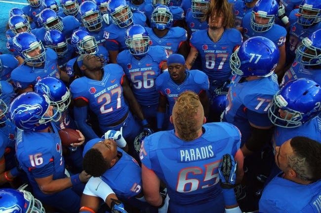 Sep 13, 2013; Boise, ID, USA; Boise State Broncos running back Jay Ajayi (27) fires up the team prior to the  first half against the Air Force Falcons at Bronco Stadium. Mandatory Credit: Brian Losness-USA TODAY Sports