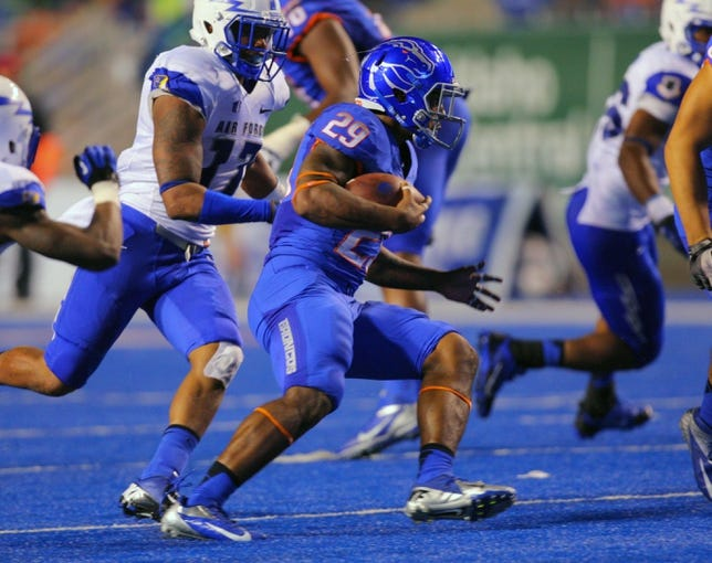 Sep 13, 2013; Boise, ID, USA; Boise State Broncos running back Aaron Baltazar (29) during the second half against the Air Force Falcons at Bronco Stadium. Boise State defeated the Air Force 42-20. Mandatory Credit: Brian Losness-USA TODAY Sports