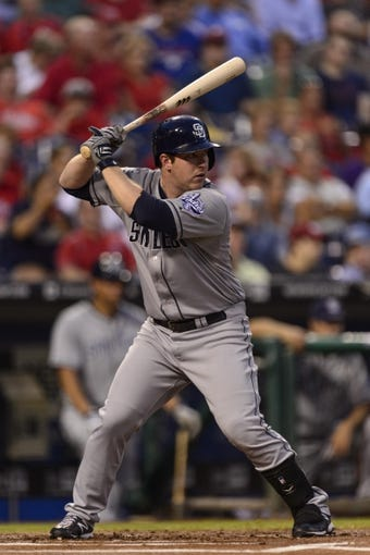 Sep 11, 2013; Philadelphia, PA, USA; San Diego Padres second baseman Jedd Gyorko (9) during an at bat during the first inning against the Philadelphia Phillies at Citizens Bank Park. The Phillies defeated the Padres 4-2. Mandatory Credit: Howard Smith-USA TODAY Sports