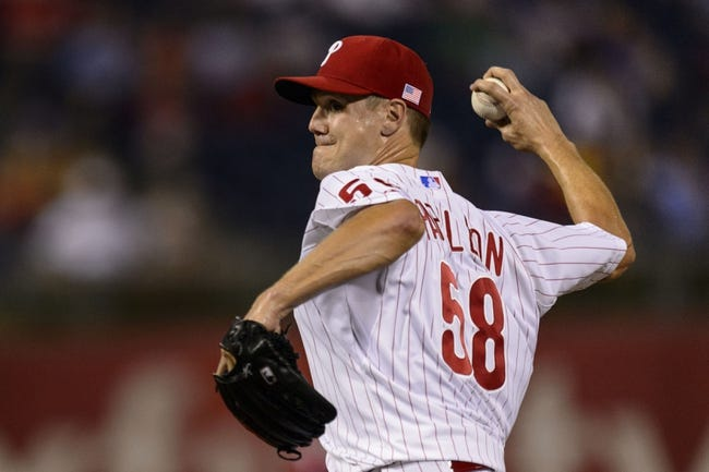 Sep 11, 2013; Philadelphia, PA, USA; Philadelphia Phillies pitcher Jonathan Papelbon (58) delivers to the plate during the ninth inning against the San Diego Padres at Citizens Bank Park. The Phillies defeated the Padres 4-2. Mandatory Credit: Howard Smith-USA TODAY Sports