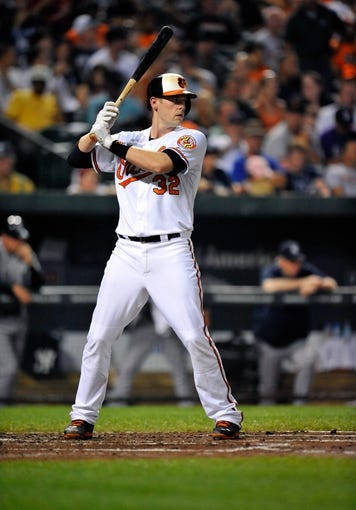 Sep 11, 2013; Baltimore, MD, USA; Baltimore Orioles catcher Matt Wieters (32) bats in the second inning against the New York Yankees at Oriole Park at Camden Yards. The Yankees defeated the Orioles 5-4. Mandatory Credit: Joy R. Absalon-USA TODAY Sports
