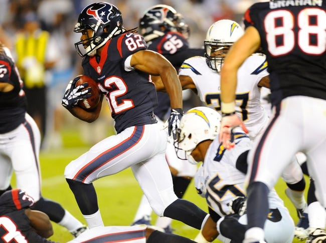 Sep 9, 2013; San Diego, CA, USA; Houston Texans receiver Keshawn Martin (82) returns a kick during the second half against the San Diego Chargers at Qualcomm Stadium. Mandatory Credit: Christopher Hanewinckel-USA TODAY Sports
