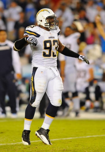 Sep 9, 2013; San Diego, CA, USA; San Diego Chargers linebacker Dwight Freeney (93) after a sack during the second half against the San Diego Chargers at Qualcomm Stadium. Mandatory Credit: Christopher Hanewinckel-USA TODAY Sports