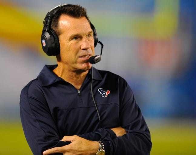 Sep 9, 2013; San Diego, CA, USA; Houston Texans head coach Gary Kubiak during the second half against the San Diego Chargers at Qualcomm Stadium. Mandatory Credit: Christopher Hanewinckel-USA TODAY Sports