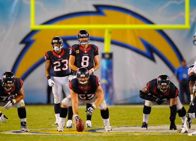 Sep 9, 2013; San Diego, CA, USA; Houston Texans quarterback Matt Schaub (8) under center during the second half against the San Diego Chargers at Qualcomm Stadium. Mandatory Credit: Christopher Hanewinckel-USA TODAY Sports