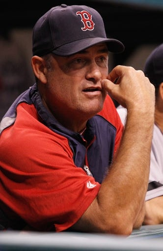 Sep 11, 2013; St. Petersburg, FL, USA; Boston Red Sox manager John Farrell (53) in the dugout during the second inning against the Tampa Bay Rays at Tropicana Field. Mandatory Credit: Kim Klement-USA TODAY Sports