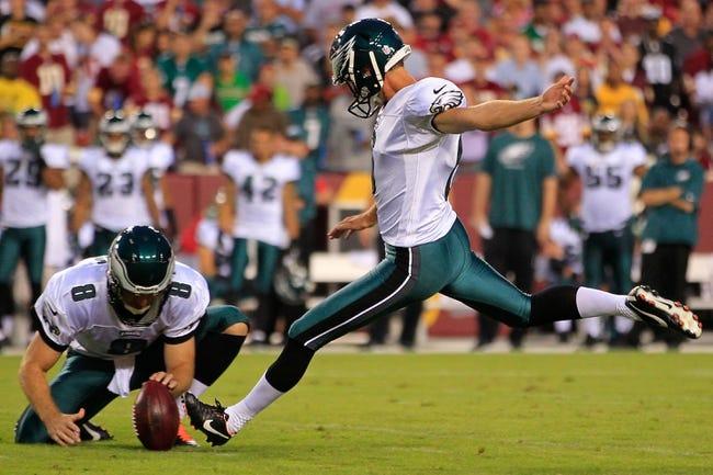 Sep 9, 2013; Landover, MD, USA; Philadelphia Eagles kicker Alex Henery (6) kicks the ball against the Washington Redskins at FedEx Field. Mandatory Credit: Geoff Burke-USA TODAY Sports