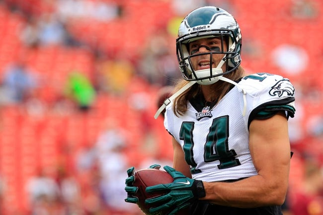 Sep 9, 2013; Landover, MD, USA; Philadelphia Eagles wide receiver Riley Cooper (14) holds the ball during warm ups prior to the Eagles game against the Washington Redskins at FedEx Field. Mandatory Credit: Geoff Burke-USA TODAY Sports