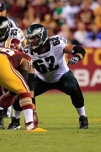 Sep 9, 2013; Landover, MD, USA; Philadelphia Eagles center Jason Kelce (62) blocks against the Washington Redskins at FedEx Field. Mandatory Credit: Geoff Burke-USA TODAY Sports