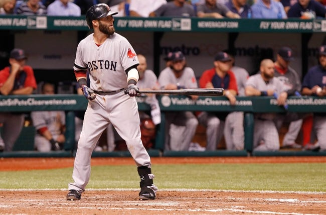 Sep 11, 2013; St. Petersburg, FL, USA; Boston Red Sox second baseman Dustin Pedroia (15) at bat against the Tampa Bay Rays at Tropicana Field. Mandatory Credit: Kim Klement-USA TODAY Sports