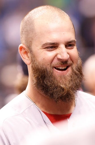 Sep 11, 2013; St. Petersburg, FL, USA; Boston Red Sox first baseman Mike Napoli (12) smiles against the Tampa Bay Rays at Tropicana Field. Boston Red Sox defeated the Tampa Bay Rays 7-3. Mandatory Credit: Kim Klement-USA TODAY Sports
