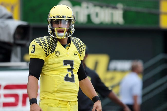 Sep 14, 2013; Eugene, OR, USA; Oregon Ducks quarterback Jake Rodrigues before the game against the Tennessee Volunteers at Autzen Stadium. Mandatory Credit: Scott Olmos-USA TODAY Sports