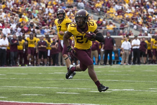 Sep 14, 2013; Minneapolis, MN, USA; Minnesota Golden Gophers running back David Cobb (27) runs for a two yard touchdown in the third quarter against the Western Illinois Leathernecks at TCF Bank Stadium. The Gophers won 29-12. Mandatory Credit: Jesse Johnson-USA TODAY Sports