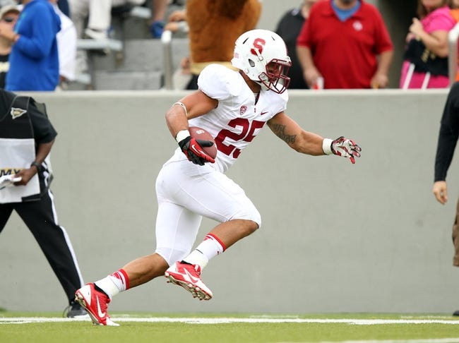 Sep 14, 2013; West Point, NY, USA; Stanford Cardinal running back Tyler Gaffney (25) catches a touchdown pass during the second half against the Army Black Knights at Michie Stadium. Mandatory Credit: Danny Wild-USA TODAY Sports