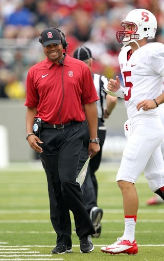 Sep 14, 2013; West Point, NY, USA; Stanford Cardinal head coach David Shaw during the game against the Army Black Knights at Michie Stadium. Mandatory Credit: Danny Wild-USA TODAY Sports