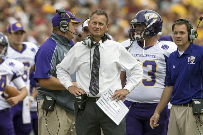 Sep 14, 2013; Minneapolis, MN, USA; Western Illinois Leathernecks head coach Bob Nielson looks on from the sidelines in the third quarter against the Minnesota Golden Gophers at TCF Bank Stadium. The Gophers won 29-12. Mandatory Credit: Jesse Johnson-USA TODAY Sports
