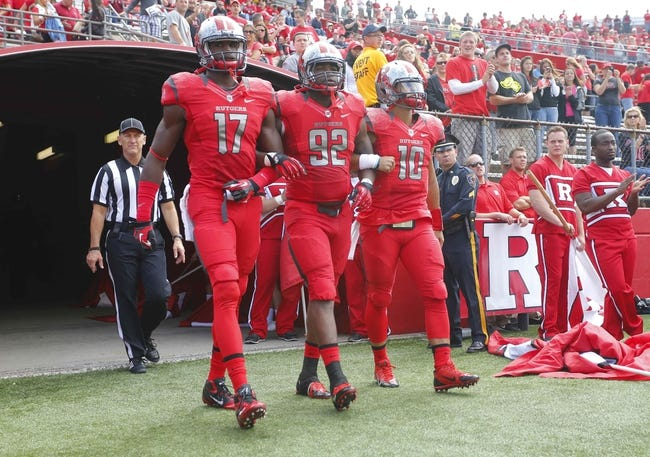 Sep 14, 2013; Piscataway, NJ, USA;  Rutgers Scarlet Knights captions wide receiver Brandon Coleman (17) defensive lineman Jamil Merrell (92) and quarterback Gary Nova (10) take the field against the Eastern Michigan Eagles at High Points Solutions Stadium. Mandatory Credit: Jim O'Connor-USA TODAY Sports